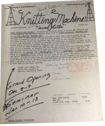 Studio Knitting Machine Newsletter Vol 106 November/December 1972 (Studio Knitting Machine compare prices)