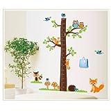 MZY LLC (TM)-Metro per misurare la crescita, motivo: Forest 200-5451-Decalcomania da parete, Adesivi per cameretta dei bambini, stanza dei bambini, la camera da letto