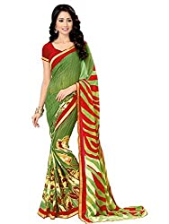 Look N Buy Beautiful Green & Red Coloured Printed Saree