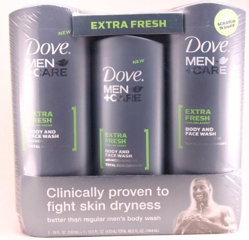 Dove men + care body and face wash with micro/moisture - extra fresh cooling agent total skin rt - 2 + 1 13.5 fl oz bottles.