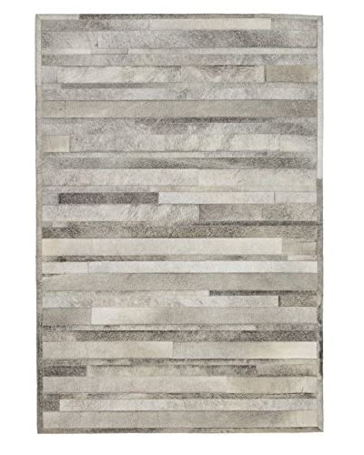 "Darya Rugs Natural Cowhide Rug, Grey, 4' 4"" x 6' 3"""