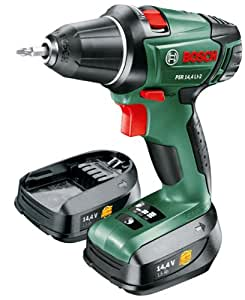 """Bosch Home & Garden PSR 14,4 LI-2 Akku-Bohrschrauber """"Expert"""", Ladegerät, 2 Akku, Doppelschrauberbit, Koffer (14,4 V, 1,5 Ah, 30 mm Bohr-Ø in Holz)"""