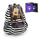 DAKIA Unisex Fashionable Canvas School Bag Super Cute Stripe School College Laptop Bag Backpack for Teens Girls Boys Students (BLACK)