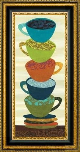 "Stacking Cups II by Jeni Lee - 12"" x 30"" Framed Premium Canvas Print"