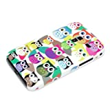 DeinPhone Small Coloured Owls Hardcase Cover Bumper for Samsung Galaxy Ace Plus S7500 - White