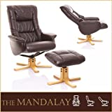 The Mandalay - Bonded Leather Recliner Swivel Chair & Matching Footstool in Chocolate Brown