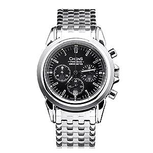 CHENS Phoebus Reloj Cronógrafo Cuarzo Para Caballero Correa Plateada De Acero Inoxidable Esfera Negra Hecho En Suiza