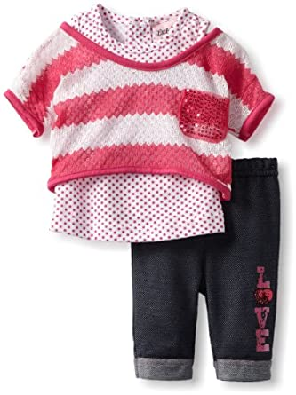 Little Lass Baby-Girls Infant 3 Piece Crochet Set with Stripes, Fuchsia, 3-6 Months