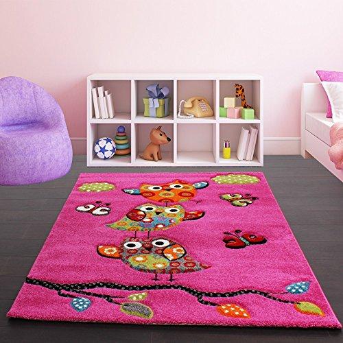 tapis-pour-enfant-adorable-chouette-en-rose-vert-dimension120x170-cm