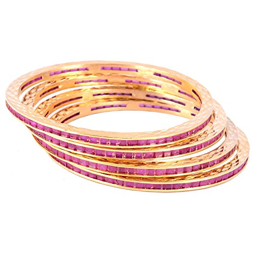 Bharat Sales Gold Plated Red Alloy Bangles Set For Women