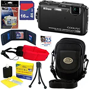 Nikon COOLPIX AW110 16 MP Waterproof Digital Camera with GPS & Built-In Wi-Fi (Black) + 7pc Bundle 16GB Accessory Kit