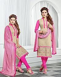 Saheli Fabric Women's Chanderi Cotton Unstitched Dress Material(Pink)