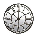 Horloge ronde miroir chiffres romains en fer forgé 107cm - coloris brun...