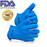 ezBuddy Silicone BBQ Grill Gloves - SAVE 61% TODAY - Comes with 2 Gloves - Versatile Kitchen & Outdoor Gloves For Use As Heat Resistant Cooking Gloves or Potholder Due To Its Silicone Construction - Maximum Grip - Protect Your Hands With Confidence and Avoid Injury With Waterproof Five Finger Grip by ezBuddy