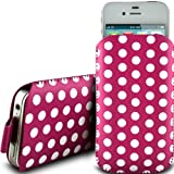 PINK POLKA DOT PREMIUM PU LEATHER PULL FLIP TAB CASE COVER POUCH FOR LG OPTIMUS ONE P500 BY N4U ACCESSORIES