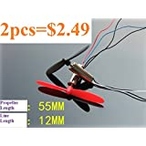 Generic New 2pcs DC3.7V 720 7*20MM Mini Model Helicopter Coreless DC Motor 55mm Propeller
