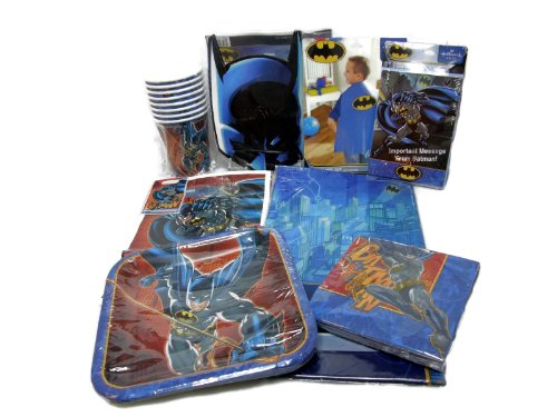 Batman 8 Guest Party Supply Pack Which Includes Plates, Cups, Napkins, Favor Bags, Invitations, Thank You Postcards, Table Cover, Cape, and Masks - This Bundle Includes 74 Pieces