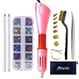 Hotfix Applicator, Afantti Rhinestone Setter Hot-fix Applicator Wand Tool Hot Fix Kit Set with 7 Tips & Hotfix Rhinestones, Pink (Color: Pink, Tamaño: Version 3)