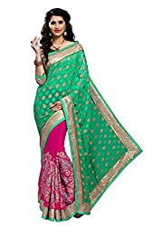 coolwomen women's georgette embroidered free size fancy saree-cw_NMD2A209_green_free size