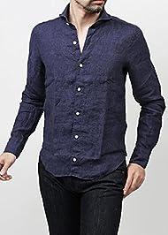 (FINAMORE) リネンシャツ SERGIO インディゴブルー