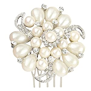 Bridal Silver-Tone Simulated Pearl Flower Hair Comb Clear Austrian Crystal B00029-1
