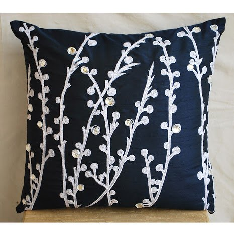 Navy Blue Willow - 16X16 Inches Square Decorative Throw Navy Blue Silk Pillow Covers Embroidered With Silver Thread And Crystals front-400459