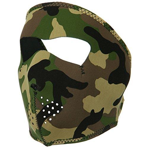 ZAN Headgear Full Face WOODLAND CAMOUFLAGE Neoprene Protective Facemask