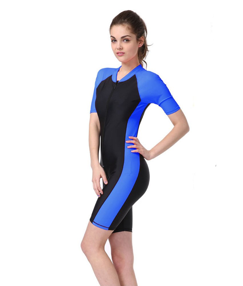 Women's Plus Size Short Sleeves Rashguard UPF 50+ One-piece Surf Swim Wet Suit rashguard mergulho rashguard a808