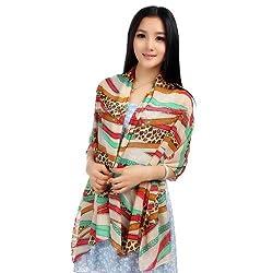 LOCOMO Women Leopard Print Belt Buckle Chiffon Scarf Shawl Wrap Colorful FAF052