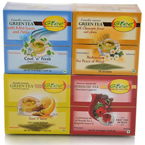 GTEE Green Tea Bags-Mint & Green Tea Bags-Chamomile & Green Tea Bags - Lemon & Ginger & Hibiscus Tea Bags (10...