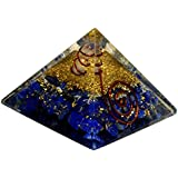 Healing Crystals India Orgone Energy Lapis Lazuli Pyramid W/ Copper Wrapped Quartz Point - EMF Protection