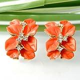 Generic 18k Gold Plated Clear Crystal Orange Enamel Leaves Flower Omega Earrings