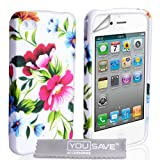 iPhone 4 / 4S Blue And Pink Floral Silicone Caseby Yousave Accessories
