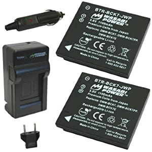 Wasabi Power Battery (2-Pack) and Charger for Panasonic DMW-BCK7, NCA-YN101G, DE-A91, DE-A92 and Panasonic Lumix DMC-FH2, DMC-FH4, DMC-FH5, DMC-FH6, DMC-FH7, DMC-FH8, DMC-FH25, DMC-FH27, DMC-FP5, DMC-FP7, DMC-FS16, DMC-FS18, DMC-FS22, DMC-FS28, DMC-FS35, DMC-FS37, DMC-FS40, DMC-FS45, DMC-FT20, DMC-FT25, DMC-FX77, DMC-FX78, DMC-FX80, DMC-FX90, DMC-S1, DMC-S2, DMC-S3, DMC-S5, DMC-SZ1, DMC-SZ5, DMC-SZ7, DMC-TS20, DMC-TS25