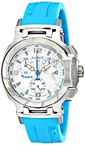 Tissot Women's T0482171701702 T-Race White Dial Blue Silicone Strap Watch