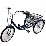 "24"" 3 Wheel Adult Bicycle Tricycle Trike Cruise Comfort Bike with Basket Blue"