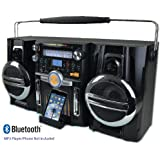 Retro Ghetto Blaster Portable Boombox Music System - Powerful Loud 150 watt PMPO + Sub Woofer - Links: Bluetooth & 3.5mm jack Mobile Phones & MP3 player, eg: Sony, Samsung, Apple iPhone, iPad, MP3 players + AM MW / FM Radio - Steepletone SGB747 Boom Box Audio Music Centre - Black