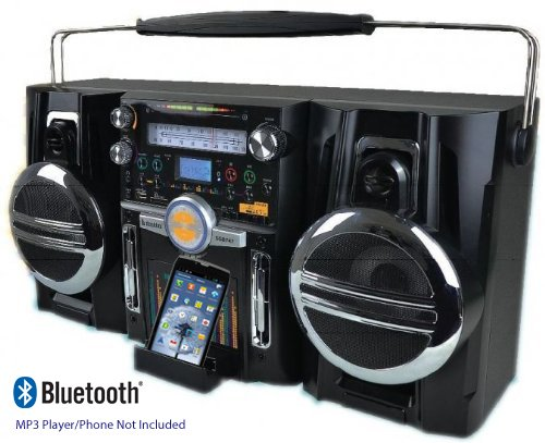Retro Ghetto Blaster Portable Boombox Music System - Powerful Loud 150 watt PMPO + Sub Woofer - Links: Bluetooth... Black Friday & Cyber Monday 2014