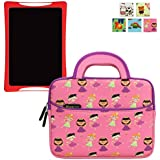 Evecase Sleeve Case Compatible with nabi DreamTab HD8 Tablet, Cute Princess Themed Neoprene Travel Carrying Slim Sleeve Case Bag w/ Dual Handle and Accessory Pocket - Pink w/ Purple Trim