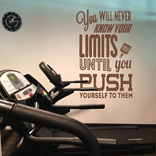 You Will Never Know Your Limit until you push Yourself To Them Education Motivation Fitness Gym Training Kit ¨ Wall Sticker ¹ Bungs Quotes With Timer, black, 58hx36w by WallsUp