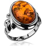 Baltic Honey Amber and Sterling Silver Classic Ring Sizes 5,6,7,8,9,10,11,12