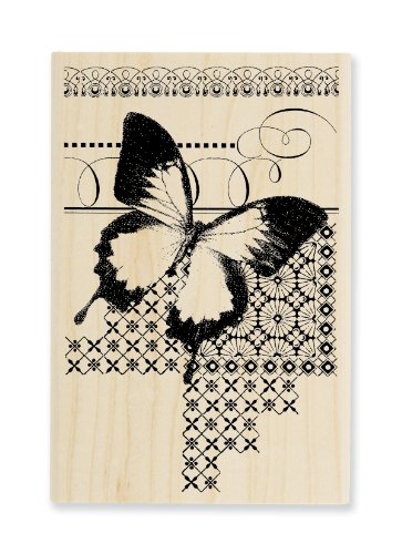 "Stampendous Wooden Handle Rubber Stamp, ""Butterfly Pattern"""