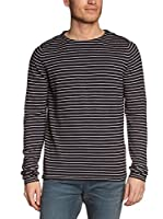 Selected Homme Camiseta Manga Larga Boat Split Crew Neck H (Azul Marino)