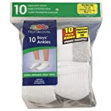 Fruit of the Loom Boys 10 Pair Value Pack Ankle Medium Sock Size 7-8.5