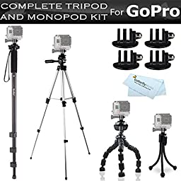 GoPro All-In-One Tripod and Monopod Kit For GoPro Hero, Hero3, Hero3+, HERO4 Silver, HERO4 Black Includes 4 GoPro Tripod Mounts + 67\