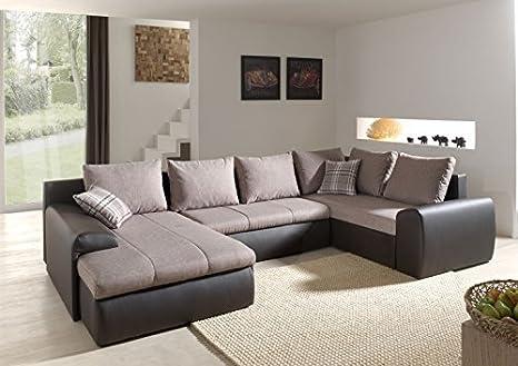 """Elegante Wohnlandschaft """"Normandy"""" mit Bettfunktion. Große 3-Sitzer Sofa-Garnitur mit Schaumpolsterung und robustem Webstoffbezug. Couch auch als Schlafsofa verwendbar. Ottomane wie abgebildet"""