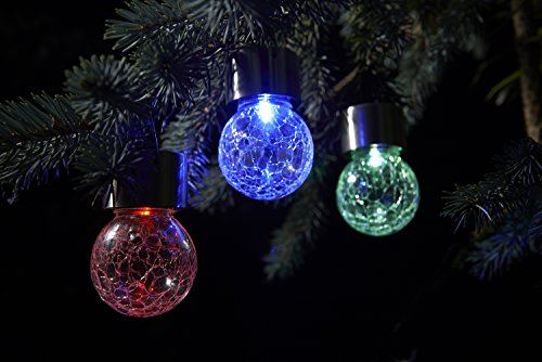 Solalux Set Of 3 Solar Hanging Mosiac Lights Outdoor Garden LED Crackle  Globes