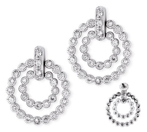 C.Z. Double Circle Bubble Style Pave Setting Sterling Silver Earrings (Nice Holiday Gift, Special Black Firday Sale)