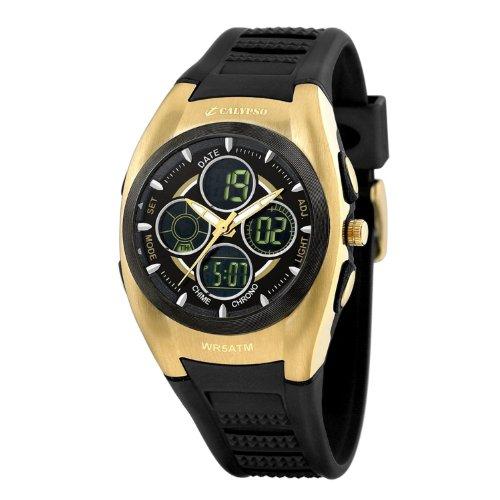 Calypso Men's K5517/2 Clack Strap Champagne Accents Digital Chronograph Watch