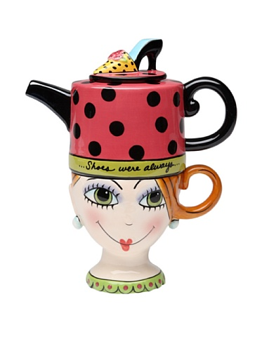 Appletree Design Shoes On Her Mind Tea for One Set, Teapot Rests on Top of Tea Cup, 8-Inch (Teapots For One compare prices)
